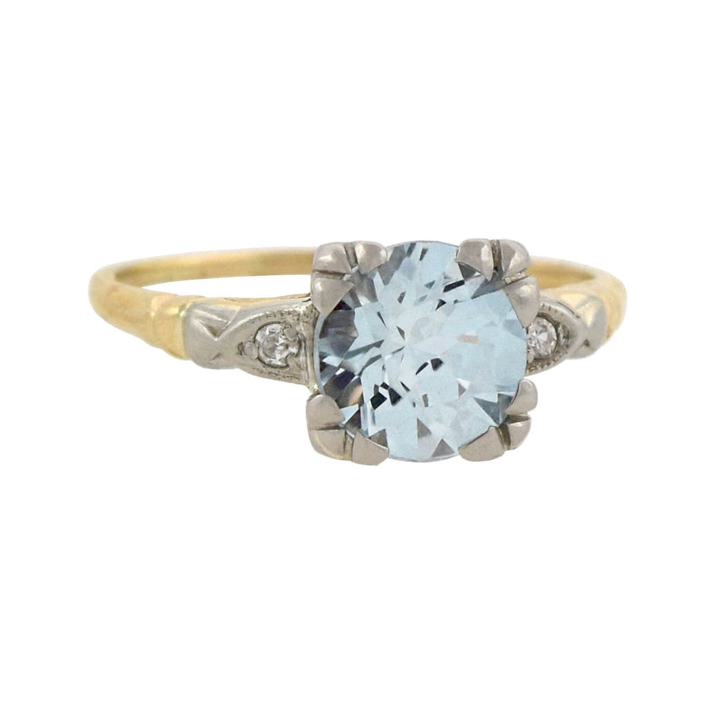 Retro 14kt Mixed Metals Aquamarine + Diamond Ring 3.00ct
