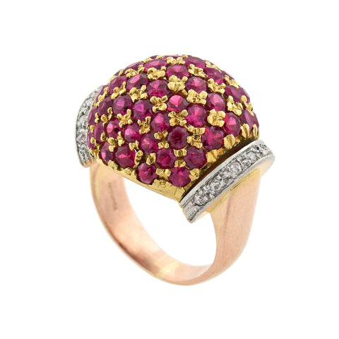 Retro 18kt Tri-color Ruby + Diamond Domed Bombé Ring 3ctw