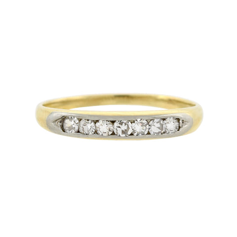 Late Art Deco 14kt Yellow + White Gold Diamond Half Band 0.15ctw