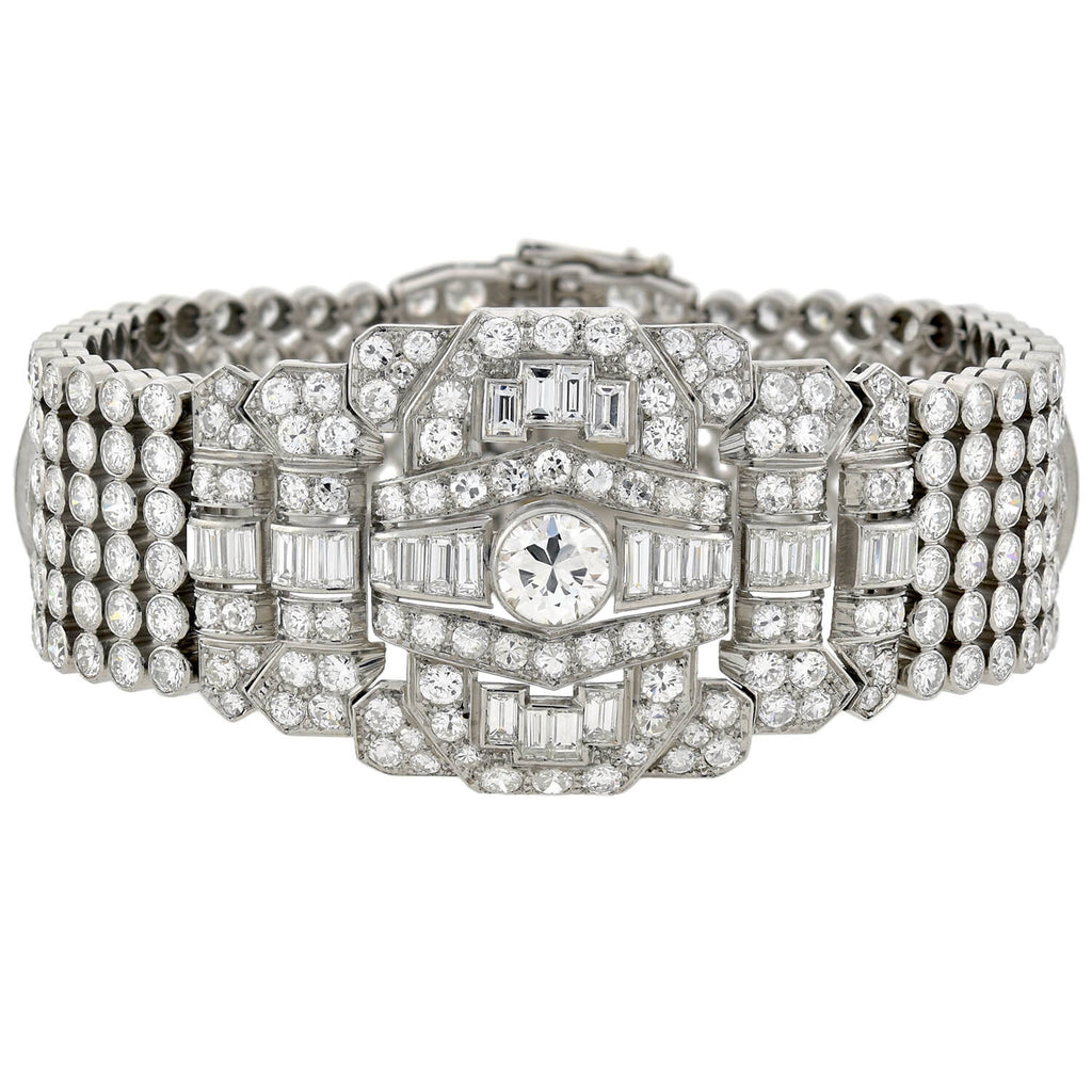 Retro Exquisite Platinum Diamond Encrusted Link Bracelet 32ctw