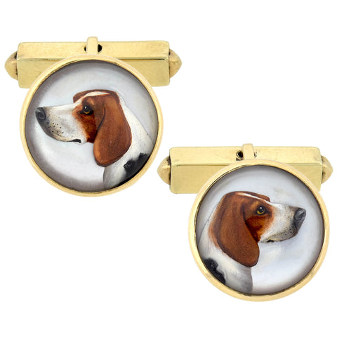 Retro 14kt Reverse Carved Essex Crystal Hunting Dog Cufflinks