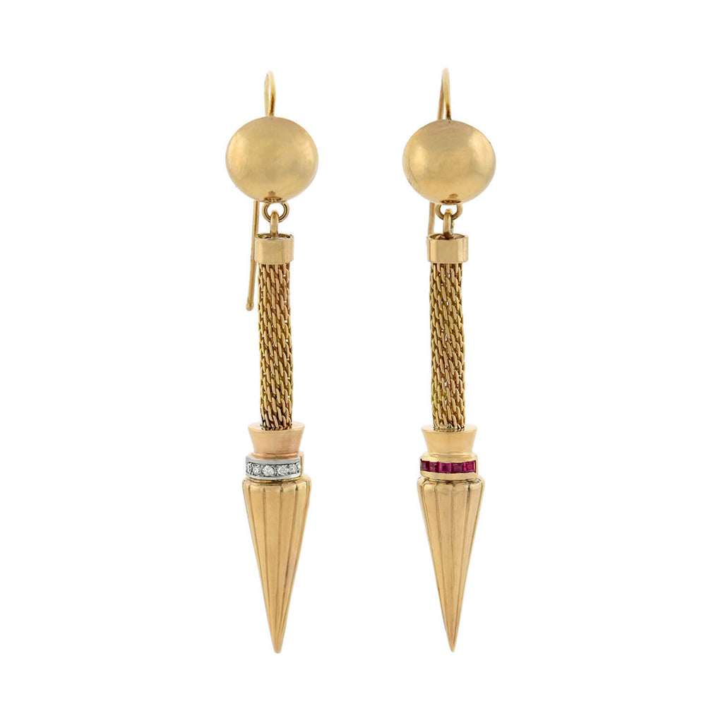 Retro 14kt Gold Diamond + Ruby Spear Earrings