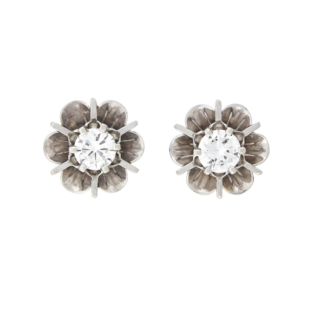 Retro 14kt White Gold Diamond Stud Earrings 0.50ctw