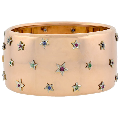 Retro 18kt Two-Tone Wide Bracelet with Ruby, Emerald + Sapphire Star Studs