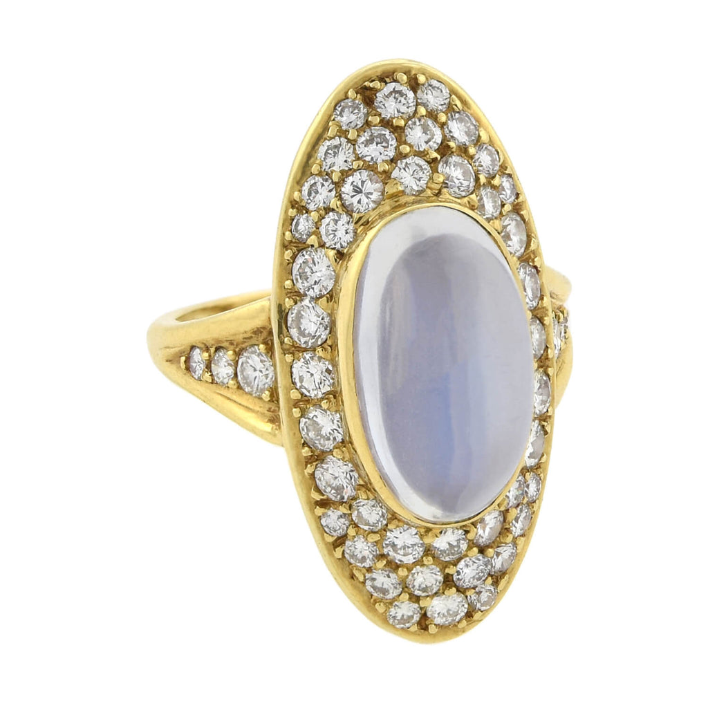 Retro Large 18kt Moonstone + Pavé Set Diamond Navette Ring