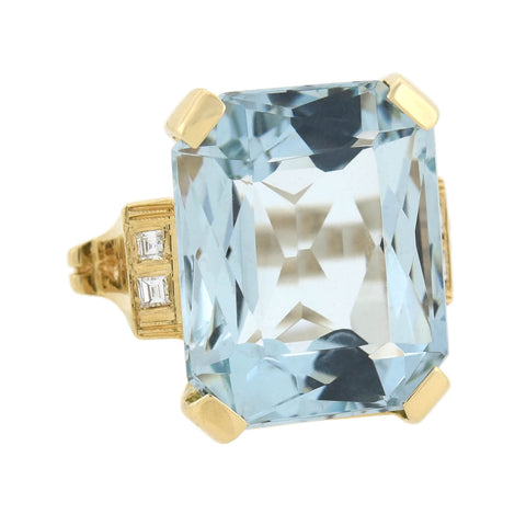Retro Large 14kt Aquamarine + Diamond Cocktail Ring 20.00ct center