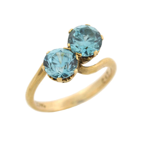 "Retro 14kt ""Moi et Toi"" Natural Blue Zircon Bypass Ring"