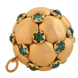 Retro 18kt Natural Blue Zircon Hanging Ball Pendant