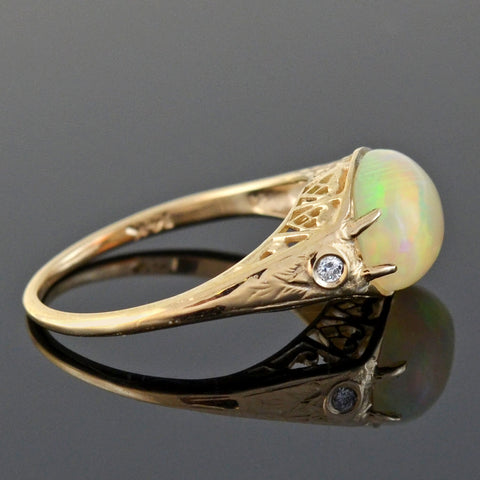 Retro 14kt Cabochon Opal + Diamond Heart Filigree Ring