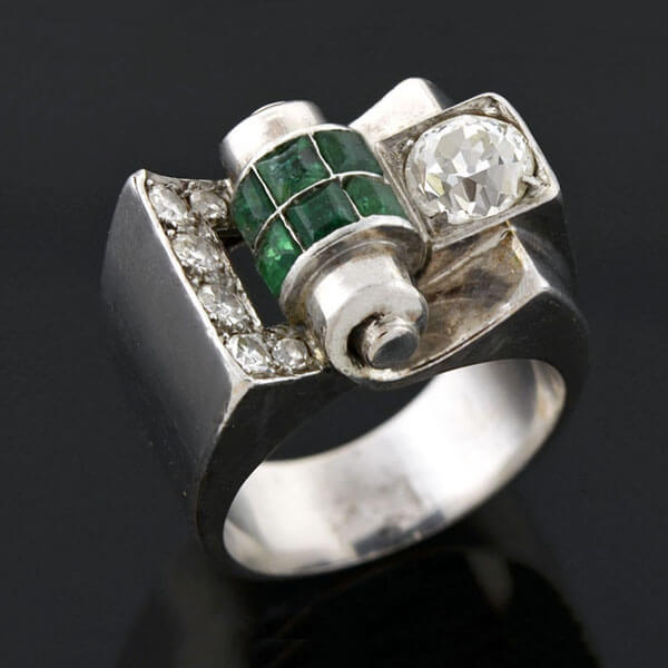 Vintage Modernist Platinum Diamond & Emerald Cocktail Ring 0.90ct