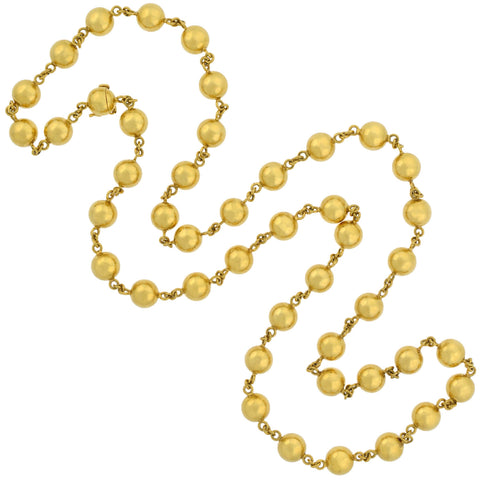 Retro French 18kt Yellow Gold Large Bead Necklace 36""