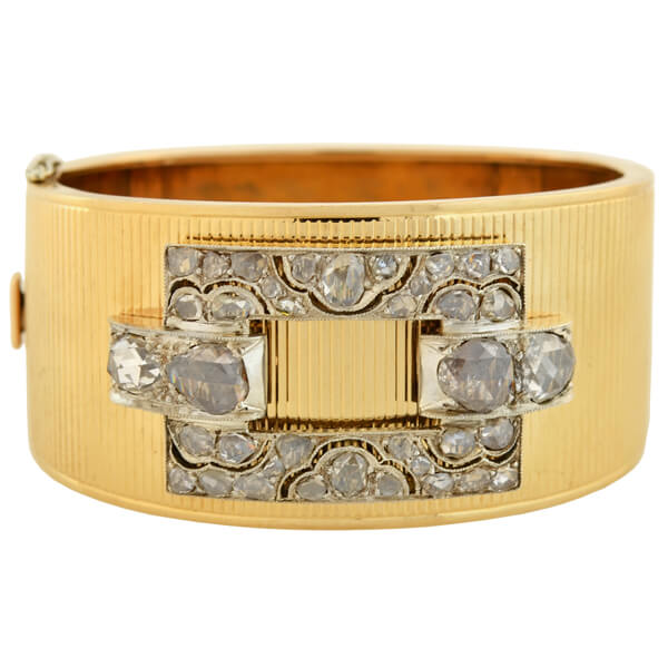 Retro 14kt Rose Cut Diamond Buckle Bangle Bracelet