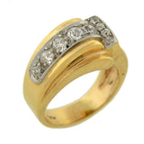 Retro 14kt Mixed Metals Diamond Wave Ring