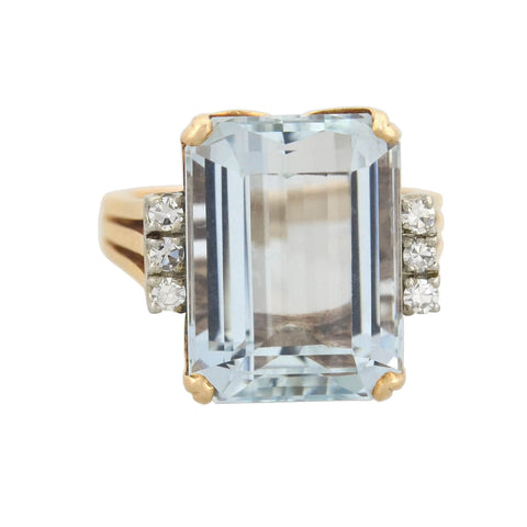 Retro 14kt Aquamarine + Diamond Cocktail Ring 12.00ct
