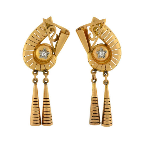 Retro 18kt Mixed Metals Diamond Earrings