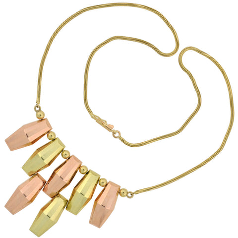 M.C. MOSSALONE Retro 14kt Two-Tone Fringe Necklace 17.25""