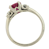 Retro Platinum Natural Burmese Ruby Diamond Ring 1.54ct