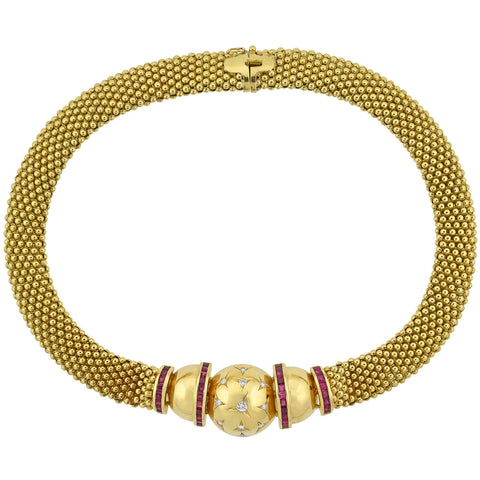 Retro 18kt Gold Wide Diamond + Ruby Collar Necklace