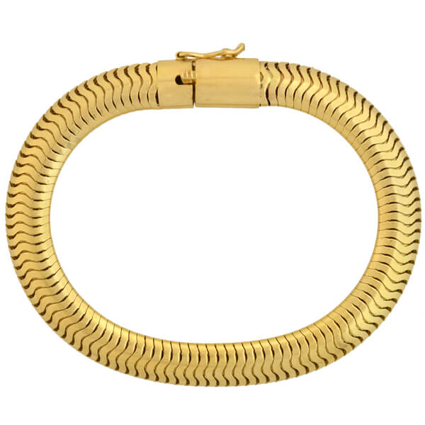 Retro 14kt Gold Flexible Snake Chain Bracelet
