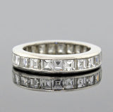Retro Platinum Square Cut Diamond Eternity Band 3.00+ctw