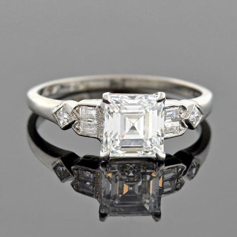 Retro Platinum Square Emerald Cut Diamond Engagement Ring 1.39ct