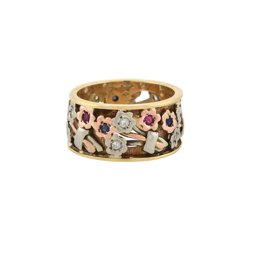 Retro 14kt Tri-Color Diamond, Ruby + Sapphire Wide Floral Band