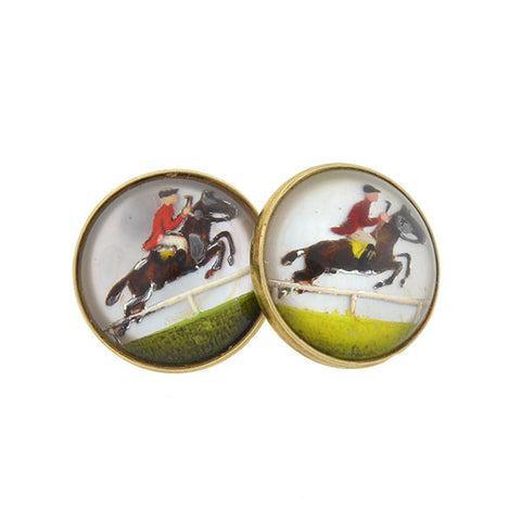 Art Deco 14kt Reverse Carved Crystal Equestrian Cufflinks