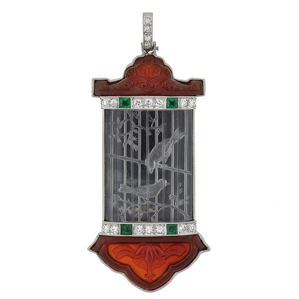 Art Deco Platinum Rock Crystal, Jade & Gemstone Bird Pendant