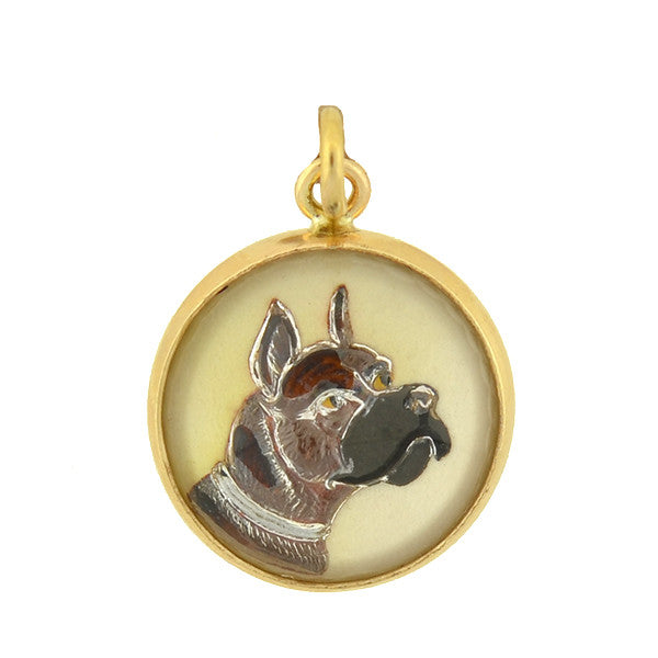 Victorian 14kt Reverse Carved Crystal Boxer Dog Charm