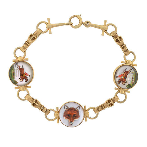 Retro 14kt Reverse Carved Crystal Fox & Horse Link Bracelet