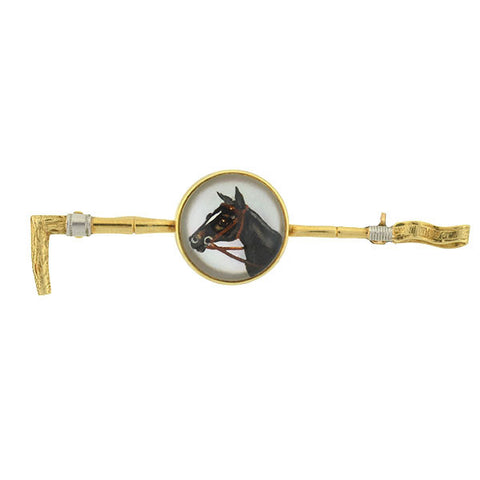 MARCUS & CO. 14kt Crystal Horse & Crop Hunting Pin