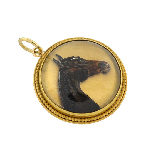 Late Victorian 18kt Reverse Carved Essex Crystal Horse Pendant