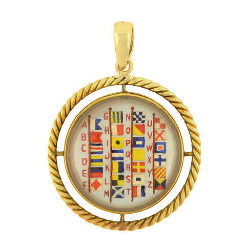 Victorian 14kt Essex Crystal Nautical Flag Lettering Pendant