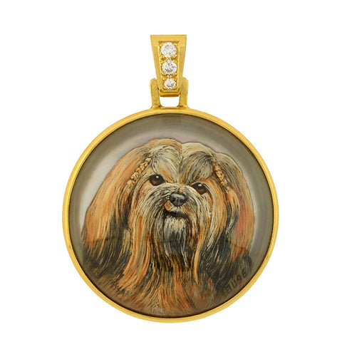 H. BUSSMER Vintage 18kt Reverse Carved Rock Crystal Shih Tzu Dog Pendant