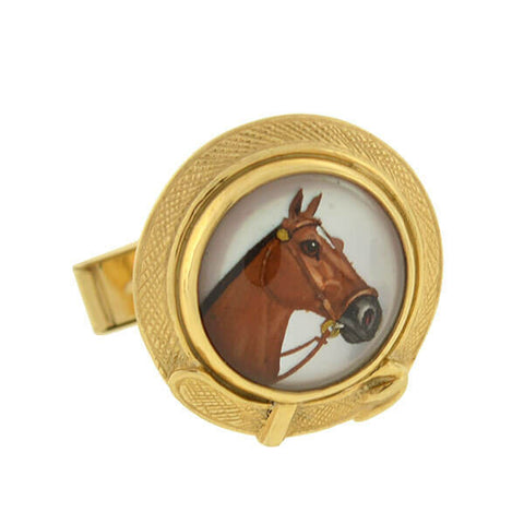 Vintage 14kt Reverse Carved Crystal Horse & Buckle Cufflinks