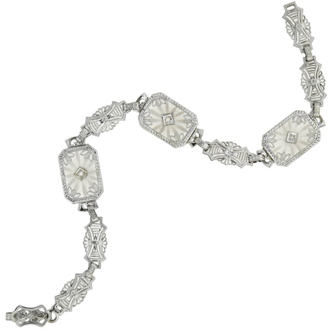 Art Deco 14kt Rock Crystal + Diamond Filigree Bracelet
