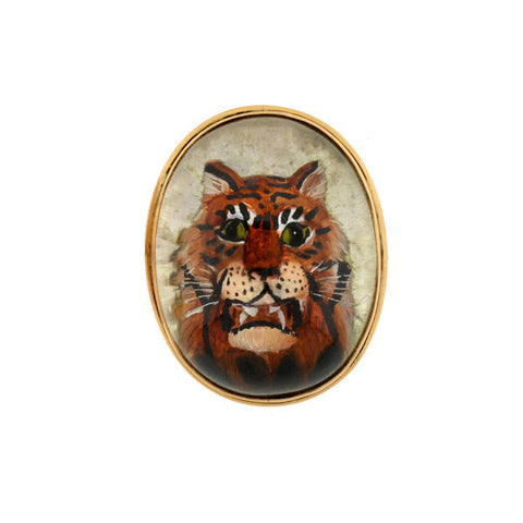 Victorian Reverse Carved Rock Crystal Tiger Cufflinks
