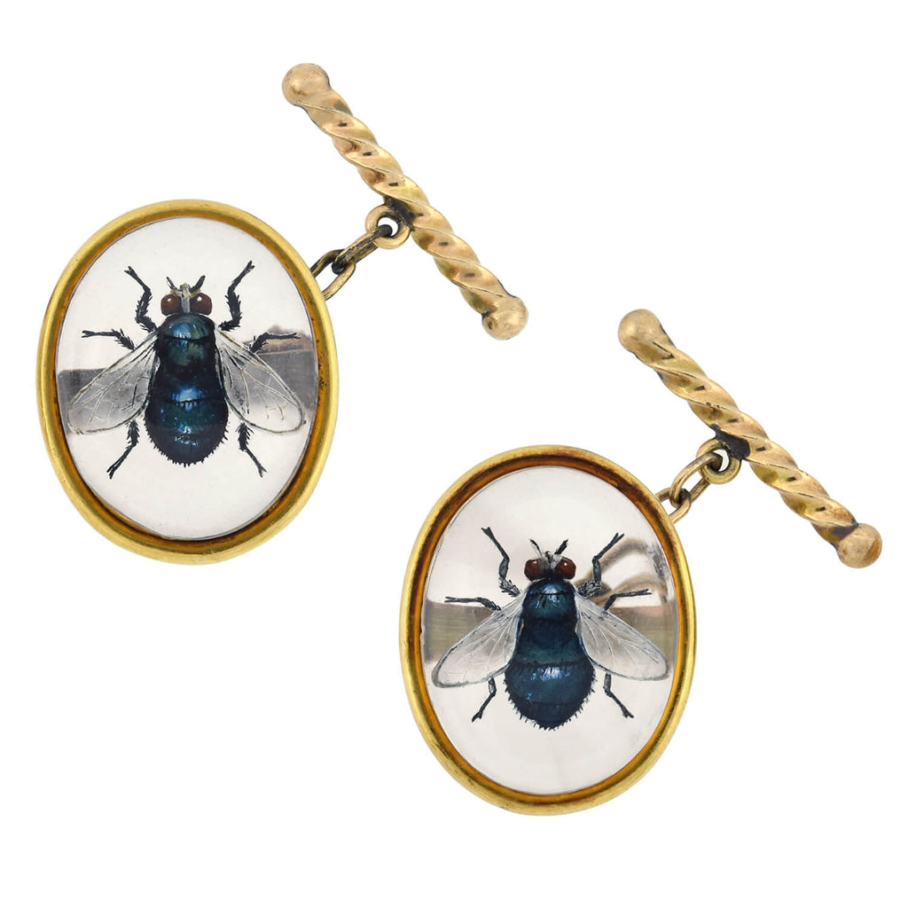 Late Victorian 18kt Carved Essex Crystal Fly Insect Cufflinks