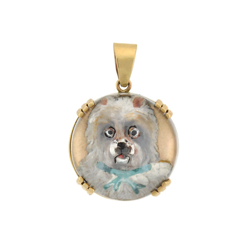 "Victorian 14kt West Highland ""Westie"" Terrier Dog Essex Pendant"