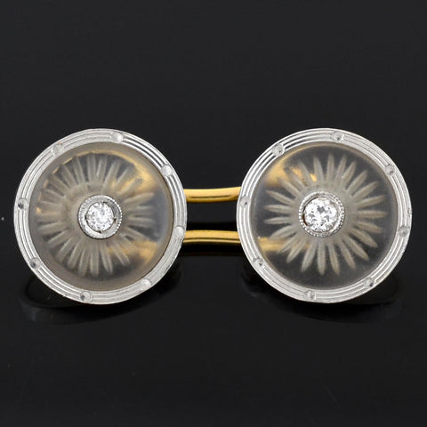 Edwardian Platinum/18kt Reverse Carved Rock Crystal + Diamond Cufflinks