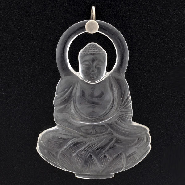 Art Deco Carved Rock Quartz Crystal Buddha Pendant