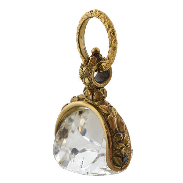 Victorian 14kt Rock Quartz Crystal Repousse Spinner Fob