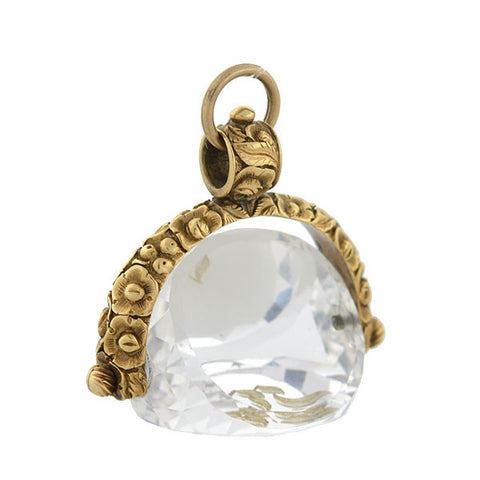Victorian 15kt Rock Quartz Crystal Repousse Spinner Fob