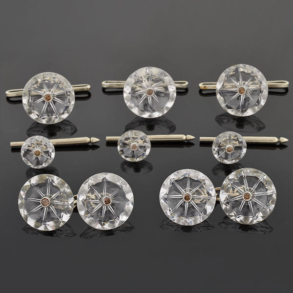 Art Deco 14kt Rock Quartz & Diamond 8 Piece Cufflink Set