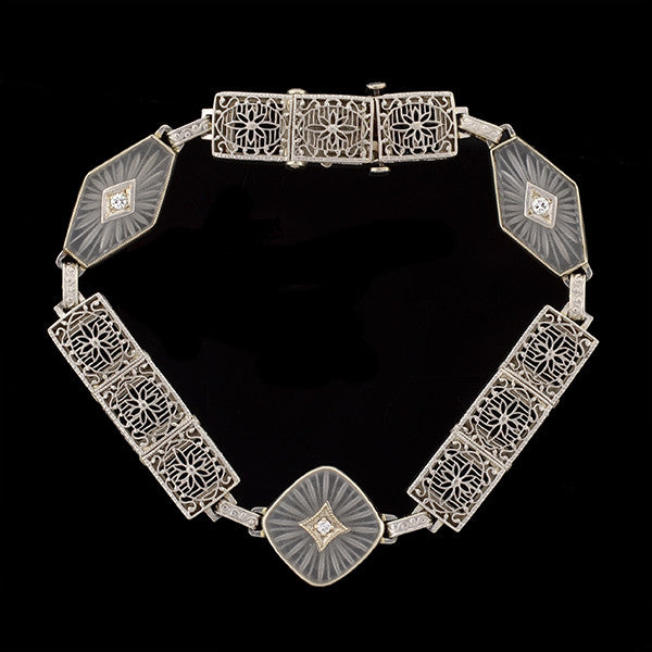 Art Deco 14kt Rock Quartz Crystal & Diamond Filigree Link Bracelet