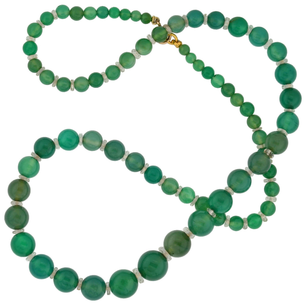Art Deco Chrysoprase + Rock Crystal Bead Necklace 22""
