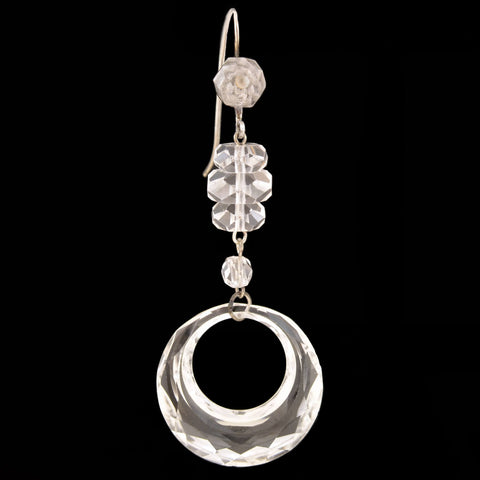 Art Deco Sterling/10kt Rock Quartz Crystal Earrings