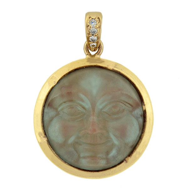 "Victorian 14kt Art Glass Diamond ""Man in the Moon"" Pendant"