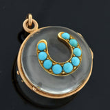 Victorian 14kt Rock Crystal Turquoise Horseshoe Locket