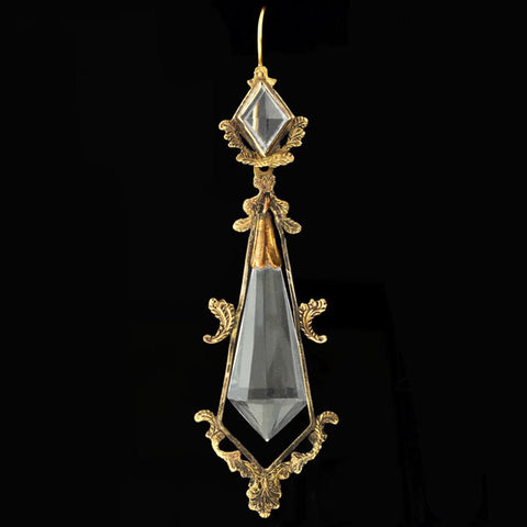 Victorian Long 14kt Faceted Rock Crystal Earrings